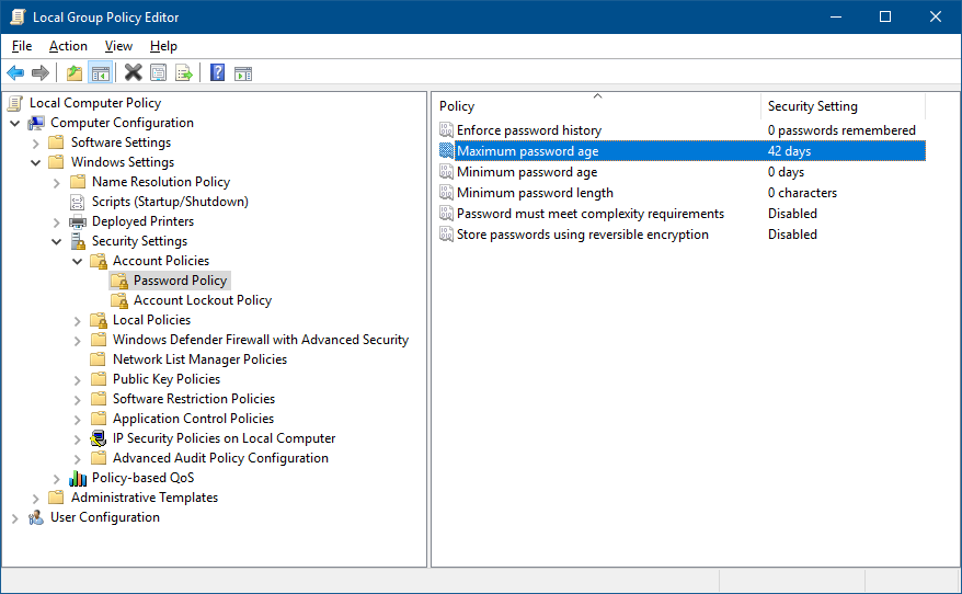 Local Group Policy Editor - Password Policy
